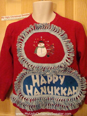 Happy Hanukkah Festive Sweatshirt with Fringe (j69)