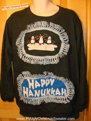 Happy Hanukkah Festive Sweatshirt with Fringe (j70)