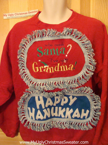 Happy Hanukkah Festive Sweatshirt with Fringe Grandma (j71)