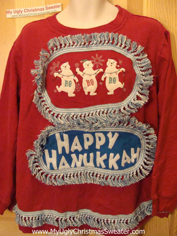 Happy Hanukkah Festive Sweatshirt with Fringe (j72)
