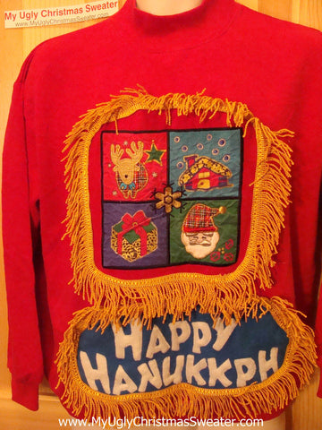 Happy Hanukkah Festive Sweatshirt with Fringe (j73)