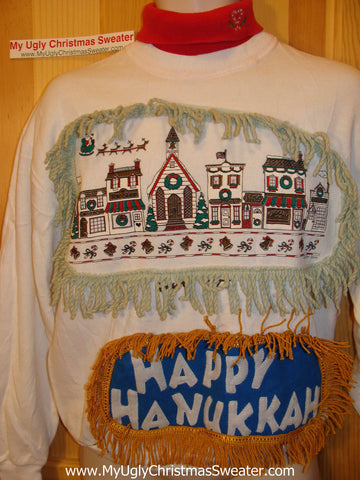 Happy Hanukkah Festive Sweatshirt with Fringe 80s Built-in T-neck  (j74)