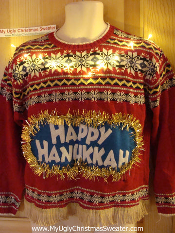 Happy Hanukkah Festive Sweater with Fringe and Lights (j77)