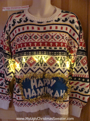 Happy Hanukkah Festive Sweater with Fringe and Lights (j78)