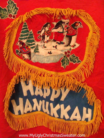 Happy Hanukkah Festive Sweatshirt with Fringe Two-sided (j79)
