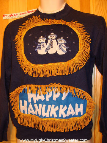 Happy Hanukkah Festive Sweatshirt with Fringe (j80)