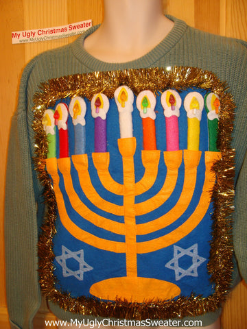 Hanukkah Sweater Giant Menorah (j81)