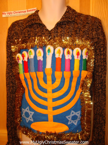 Hanukkah Sweater Giant Menorah (j84)