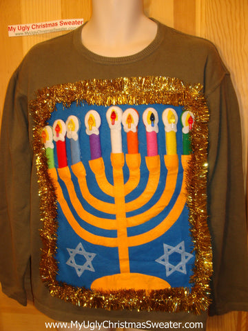 Ugly Christmas Sweater Party Hanukkah Sweater (j86)