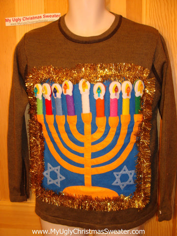 Ugly Christmas Sweater Party Hanukkah Sweater (j87)