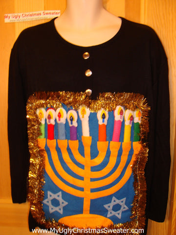 Ugly Christmas Sweater Party Hanukkah Sweater (j88)