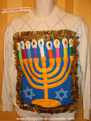 Ugly Christmas Sweater Party Hanukkah Sweater (j89)