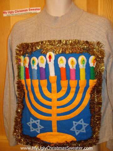 Ugly Christmas Sweater Party Hanukkah Sweater (j91)