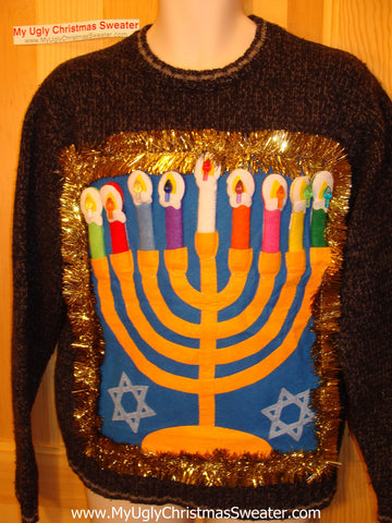 Ugly Christmas Sweater Party Hanukkah Sweater (j92)