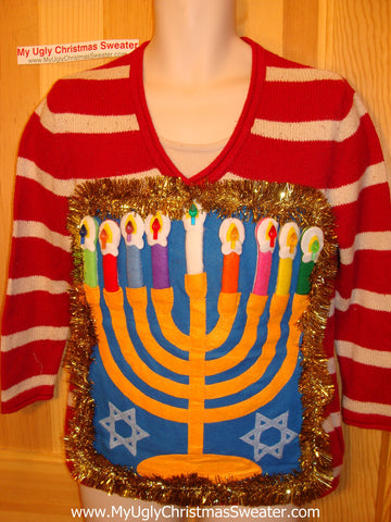 Ugly Christmas Sweater Party Hanukkah Sweater (j96)