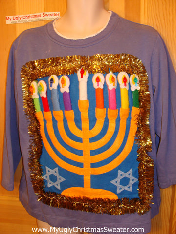 Ugly Christmas Sweater Party Hanukkah Sweatshirt (j97)