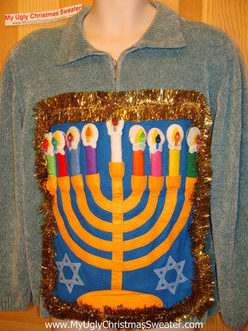 Ugly Christmas Sweater Party Hanukkah Sweater (j98)