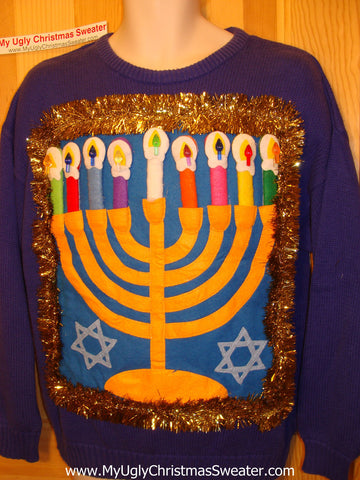 Ugly Christmas Sweater Party Hanukkah Sweater (j99)