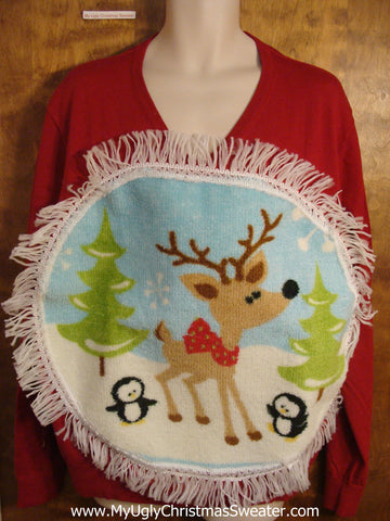 Reindeer and Fringe Christmas Sweater
