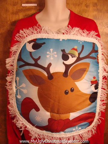 Vneck Puffy Reindeer Head Christmas Sweater