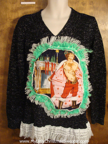 Hottie Guy with Cape Christmas Sweater
