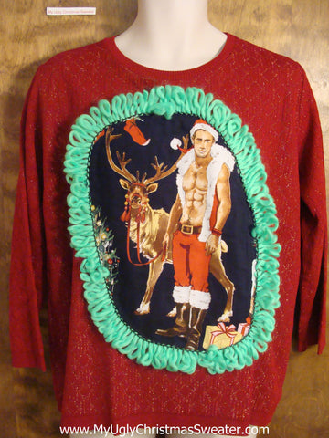 Hot Guy with Reindeer Christmas Sweater