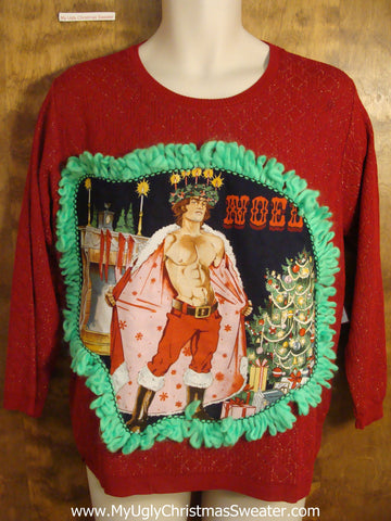 Glittery Christmas Sweater Hot Guy with Cape