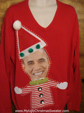 Festive President Obama Christmas Sweater