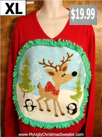 Vneck Reindeer Penguin Christmas Sweater