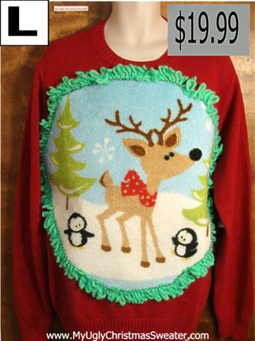 Crewneck Reindeer and Penguin Christmas Sweater