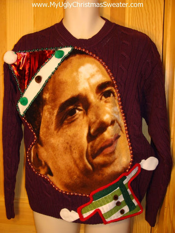 Festive President Obama Tacky Christmas Sweater