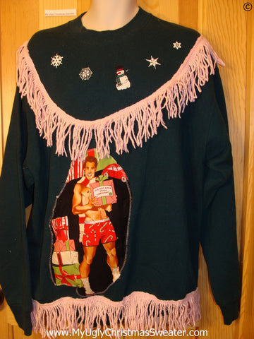 Tacky Christmas Sweatshirt Hottie Guy Fringe