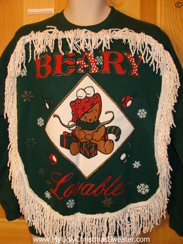 Tacky Christmas Sweatshirt Beary Lovable Bear