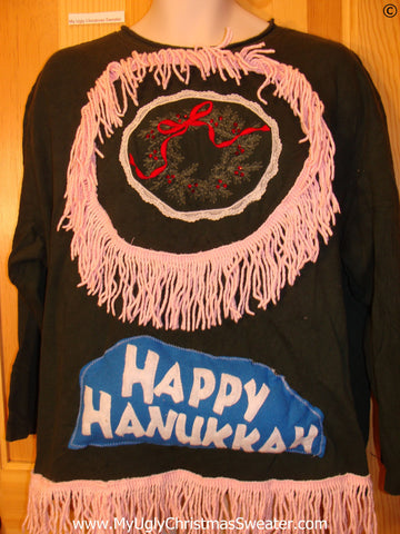 Tacky Christmas Sweatshirt Happy Hanukkah and Fringe