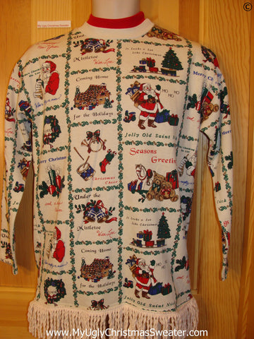 Tacky Christmas Sweatshirt 2sided Grid Decorations