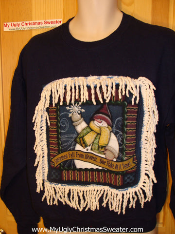 Ugly Christmas Tacky Sweatshirt Snowman with Fringe (q10)