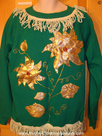 Tacky Christmas Sweatshirt Homemade Gold Poinsettias