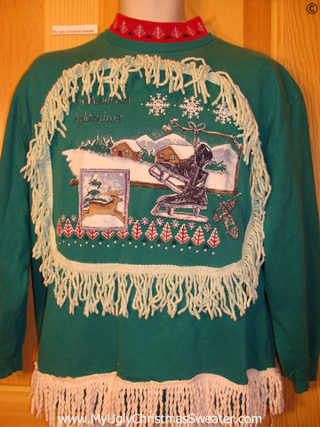 Tacky Christmas Sweatshirt Winter Skates Reindeer Fringe