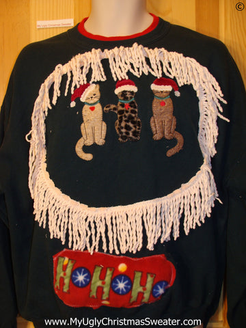 Tacky Christmas Sweatshirt Santa Cats and Fringe