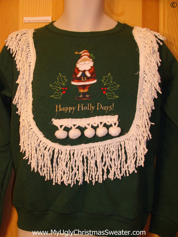Tacky Christmas Sweatshirt Happy Holly Days Santa