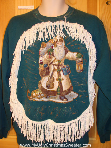 Tacky Christmas Sweatshirt Homemade Gold Santa Fringe