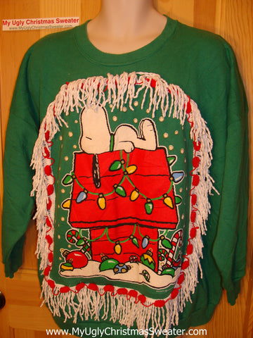 Ugly Christmas Tacky Sweatshirt Snoopy Peanuts with Fringe (q11)