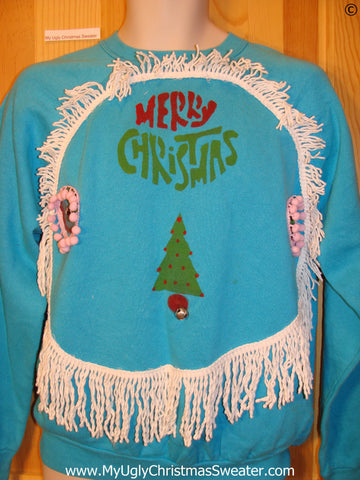 Tacky Christmas Sweatshirt Homemade Tree 3D Pom Pom