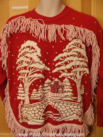 Tacky Christmas Sweatshirt 80s Bumpy Winter and Fringe