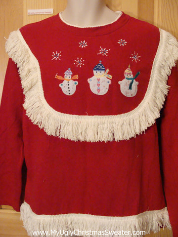 Tacky Christmas Red Sweatshirt Snowmen and Fringe