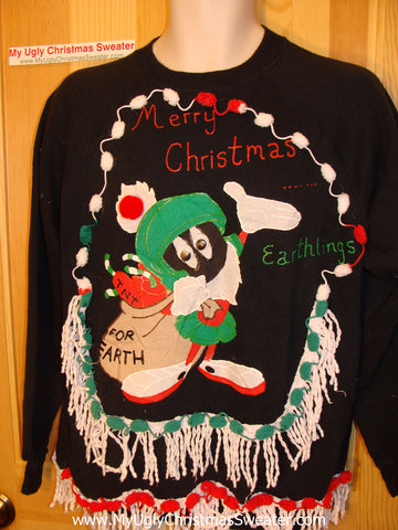 Ugly Christmas Tacky Sweatshirt Alian Geeky with Fringe (q12)