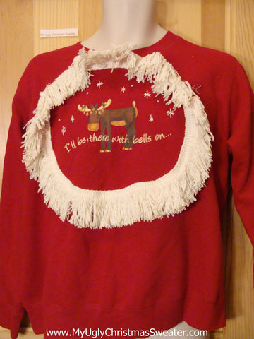 Tacky Christmas Sweatshirt Funny Reindeer and Fringe