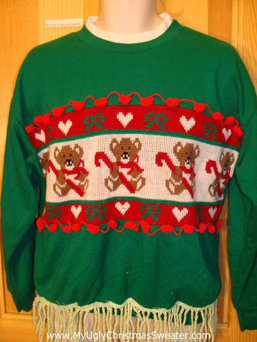 Tacky Christmas Sweatshirt Bears Hearts Fringe