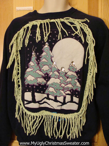Tacky Christmas Sweatshirt Winter Huge Moon and Fringe