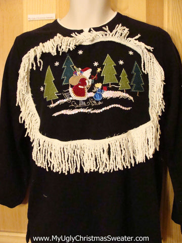 Tacky Christmas Sweatshirt Santa Angel in the Forest